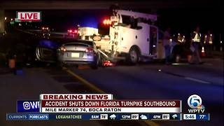 Accident shuts down Florida Turnpike southbound in Boca Raton - Video