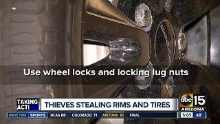 Thieves stealing tires from cars in Valley neighborhoods - Video