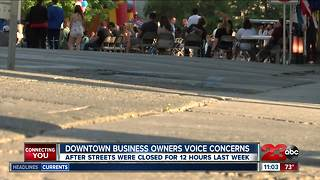 Downtown business owners voice street closure concerns - Video