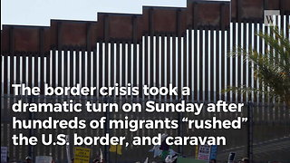 Border Patrol Agents Forced To Get Physical As Hundreds Of Migrants Rush Border