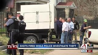 Shots fired while police investigate theft - Video
