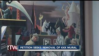 Petition wants part of mural depicting KKK rally removed from Indiana University lecture hall