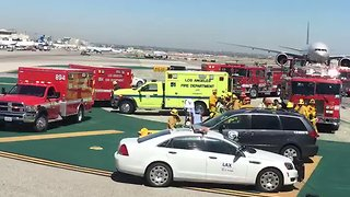 Aeromexico Plane Collides With Truck at Los Angeles Airport - Video