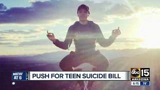 Valley parents pushing for teen suicide bill