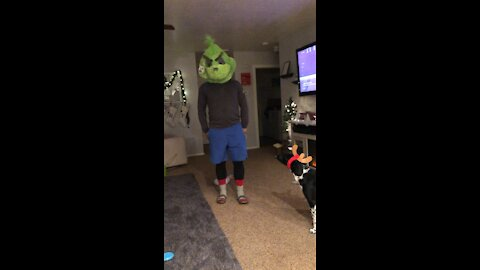 Man impersonating The Grinch