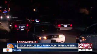 Three arrested after pursuit ends with crash in Tulsa - Video
