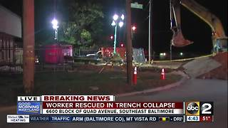 Construction worker rescued from trench collapse in SE Baltimore - Video