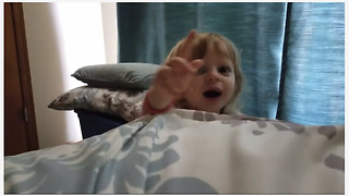 Super cute toddler wakes up dad with
