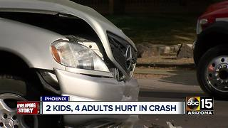 Two children and four adults hurt in central Phoenix crash