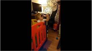 Baby Loves Toy Microphone So Much, He Smacks Himself In The Face With It - Video