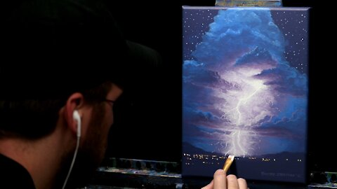 Acrylic Landscape Painting of a Lightning Storm - Time Lapse - Artist Timothy Stanford