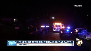 Four shot after fight breaks out at party