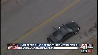 Three arrested after chase crosses state lines - Video