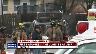 Fire destroys ambulance at AMR Headquarters - Video
