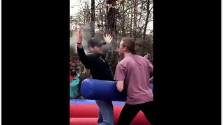 College kids engage in inflatable jousting battle