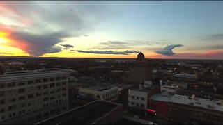 Drone footage illuminates vivid sunset in Washington town - Video