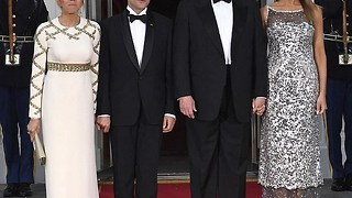Gorgeous Melania Trump is a vision at Trump state dinner with Macron.