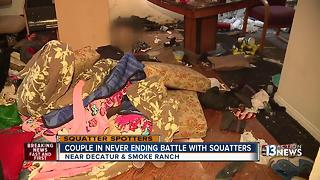 Las Vegas couple in never-ending battle with squatters - Video