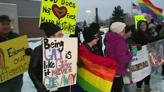 Protest at Downriver church over controversial program - Video