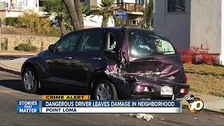 Dangerous driver leaves damage in Point Loma - Video