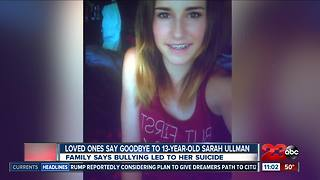 Loved ones say goodbye to 13-year-old who took her own life - Video