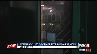 Woman accused of crimes says she was at work - Video