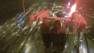 Footage of a Night Time Crane Climb in Madison, Wisconsin - Video
