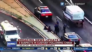 3 Baltimore robbery suspects crash during police chase in Howard Co. - Video