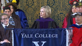 Hillary Clinton Trolls Trump With Russian Hat During Yale Commencement Speech - Video