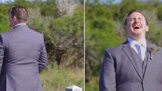 Bride Hilariously Pranks Her Groom During Their First Look - Video