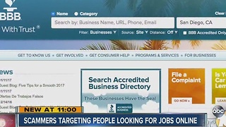 Scammers targeting people looking for jobs online - Video