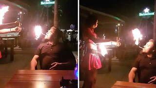 What's Wrong With A Zippo? Dangerous Moment Fire Dancer Lights Cigarette In Audience Member's Mouth