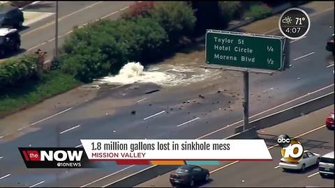 1.8 million gallons lost in Mission Valley sinkhole mess