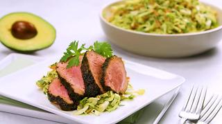 Grilled Rubbed Pork with Avocado-Cilantro Slaw - Video