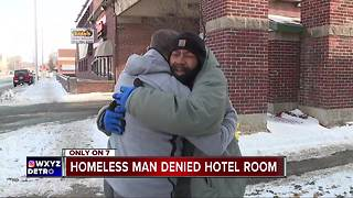 Homeless man denied hotel room - Video