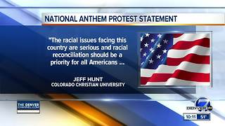 Colorado Christian University won't let athletes kneel for national anthem - Video