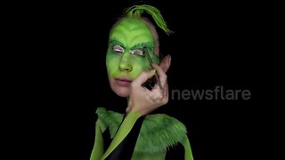 Serbian artist creates amazing Grinch bodypaint illusion - Video