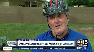 Valley man bikes from Mesa to Chandler - Video
