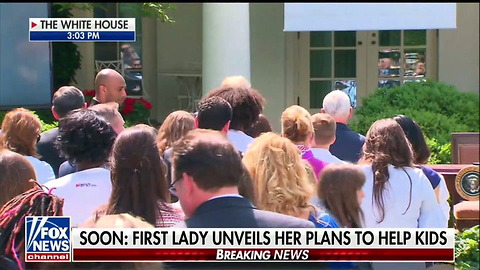 Melania Walks Out To Cheers In The Rose Garden