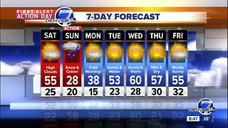 Mild and dry Saturday. Snow and cold Sunday in Denver