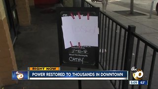 Power restored to thousands in downtown San Diego