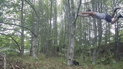 Real-life Tarzan swings, flips, and traverses from trees with seamless fluidity in incredible 'rural parkour' display