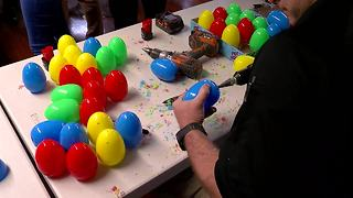 Bomb squads makes beeping Easter eggs for visually impaired children - Video