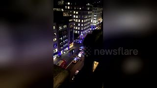 Top shot of police on scene after Covent Garden taxi incident - Video