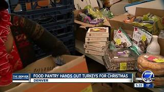 Denver food pantry hands out turkeys and food to families in need - Video