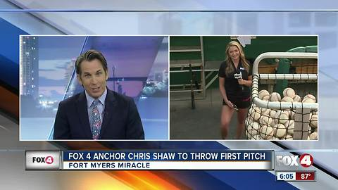Fox 4 anchors Dani Beckstorm and Chris Shaw throw out the first pitch