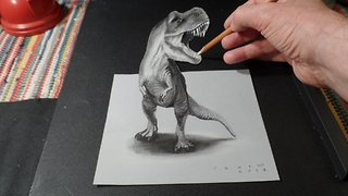 T-Rex Optical Illusion Trick Art