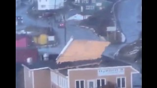Roof Blown Off During Storm in Newfoundland - Video