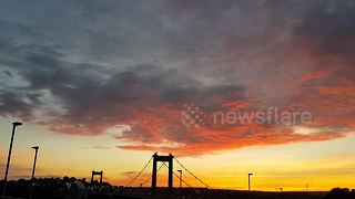 Dramatic sunset over the Tamar Bridge in Plymouth - Video