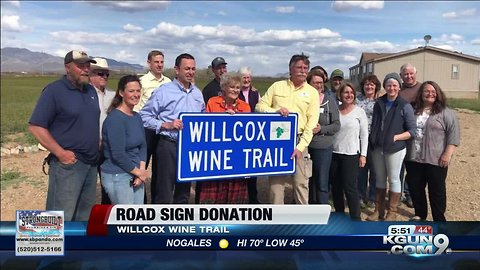 Donation to Cochise Co. to help visitors find wine tasting rooms